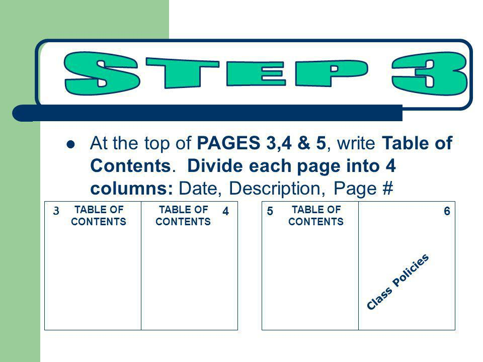 STEP 3At the top of PAGES 3,4 & 5, write Table of Contents. Divide each page into 4 columns: Date, Description, Page #