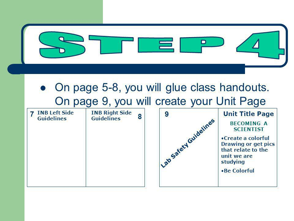 STEP 4 On page 5-8, you will glue class handouts. On page 9, you will create your Unit Page. 7. INB Left Side Guidelines.