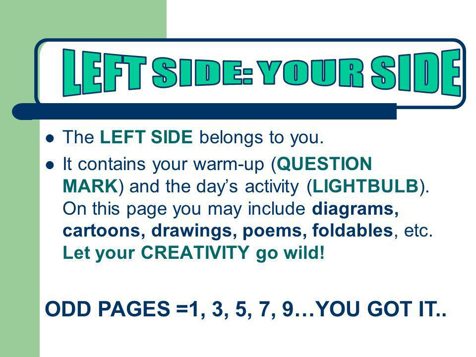LEFT SIDE: YOUR SIDE ODD PAGES =1, 3, 5, 7, 9…YOU GOT IT..