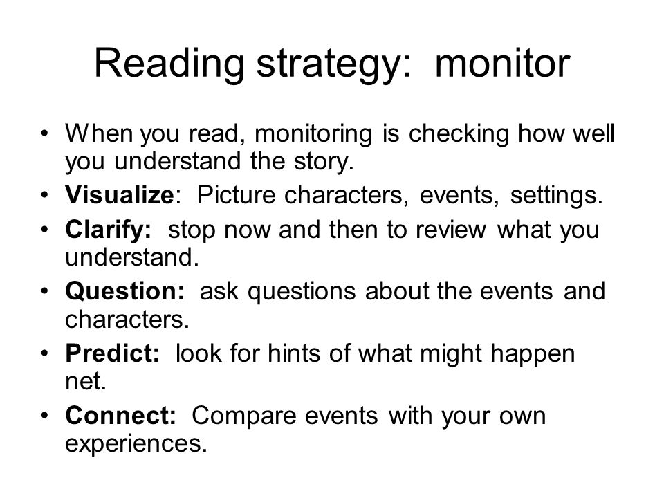 Reading strategy: monitor