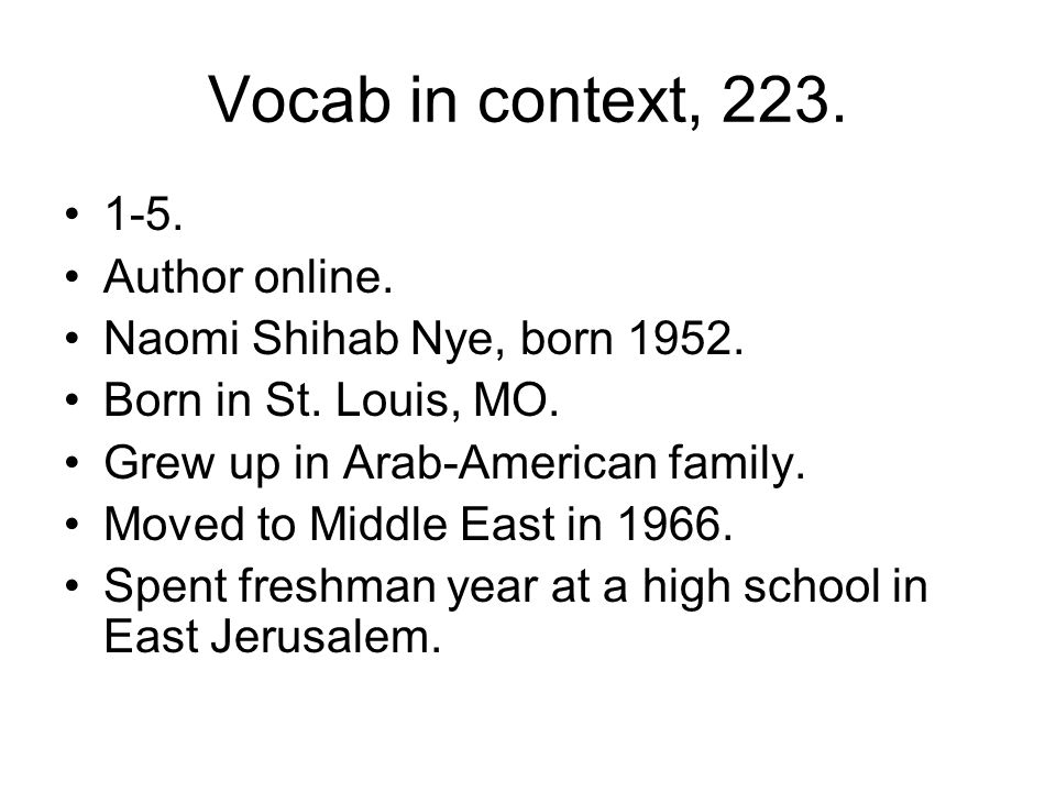 Vocab in context, 223. 1-5. Author online.
