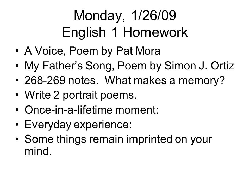 Monday, 1/26/09 English 1 Homework