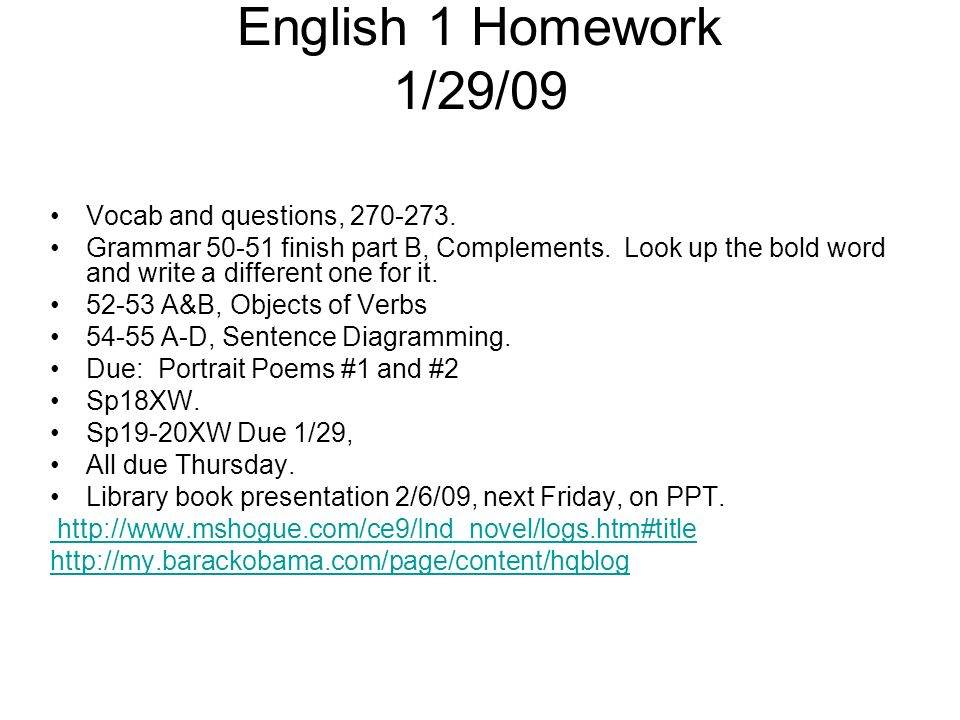 English 1 Homework 1/29/09 Vocab and questions, 270-273.