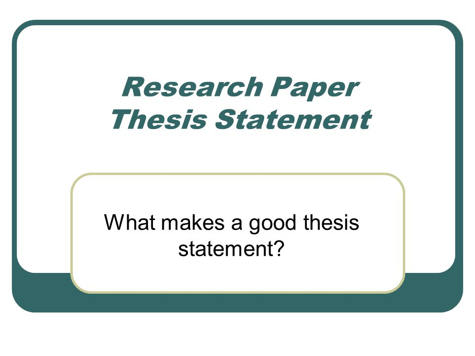 Research thesis ppt