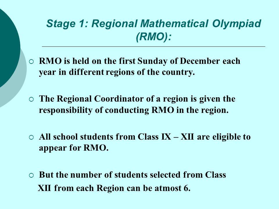 Stage 1: Regional Mathematical Olympiad (RMO):