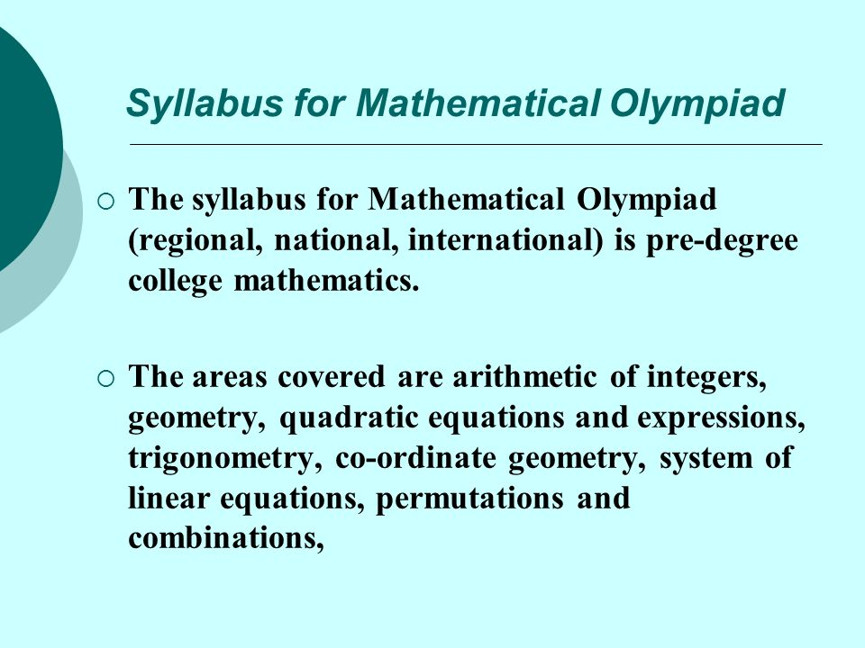 Syllabus for Mathematical Olympiad