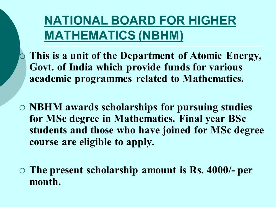 NATIONAL BOARD FOR HIGHER MATHEMATICS (NBHM)