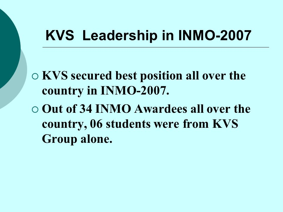KVS Leadership in INMO-2007