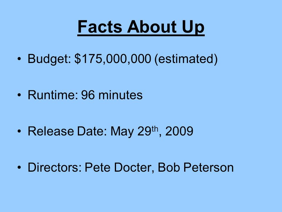 Facts About Up Budget: $175,000,000 (estimated) Runtime: 96 minutes