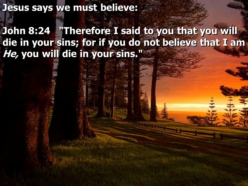Jesus says we must believe: