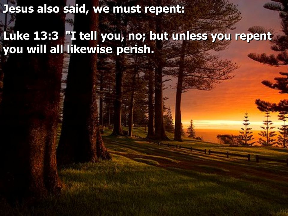 Jesus also said, we must repent: