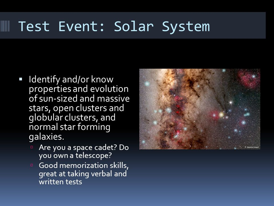 Test Event: Solar System