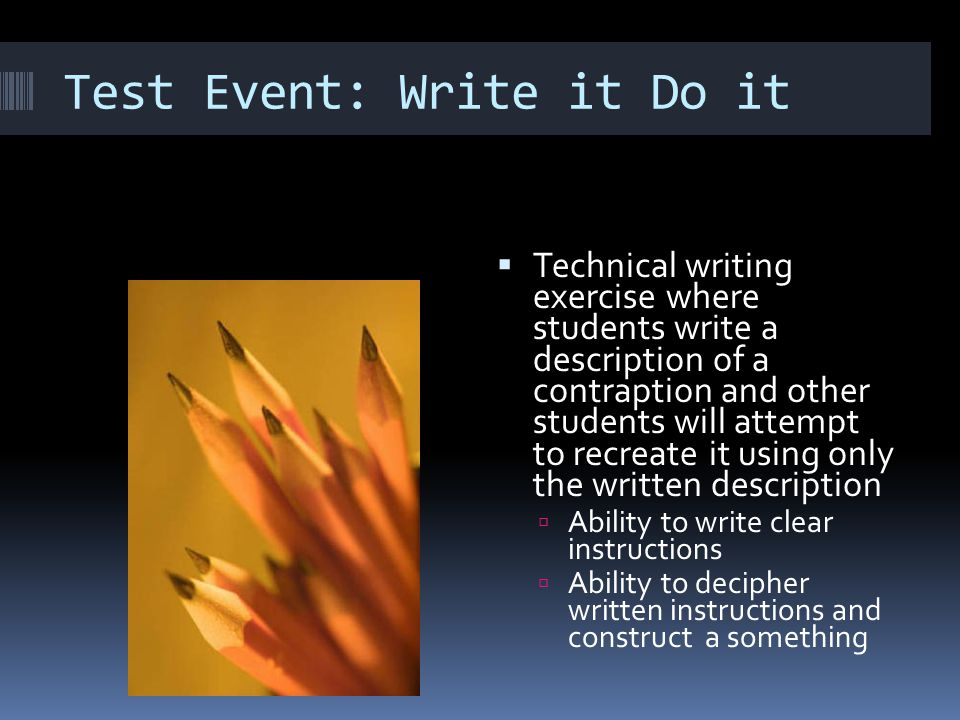 Test Event: Write it Do it