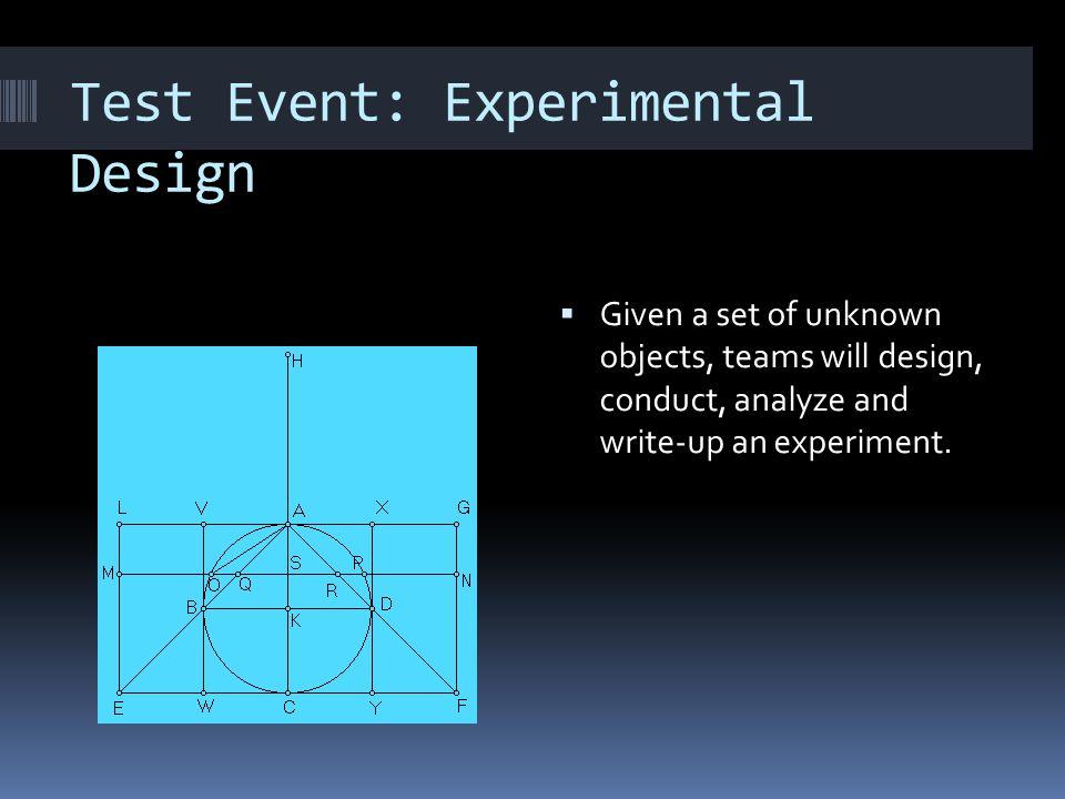 Test Event: Experimental Design