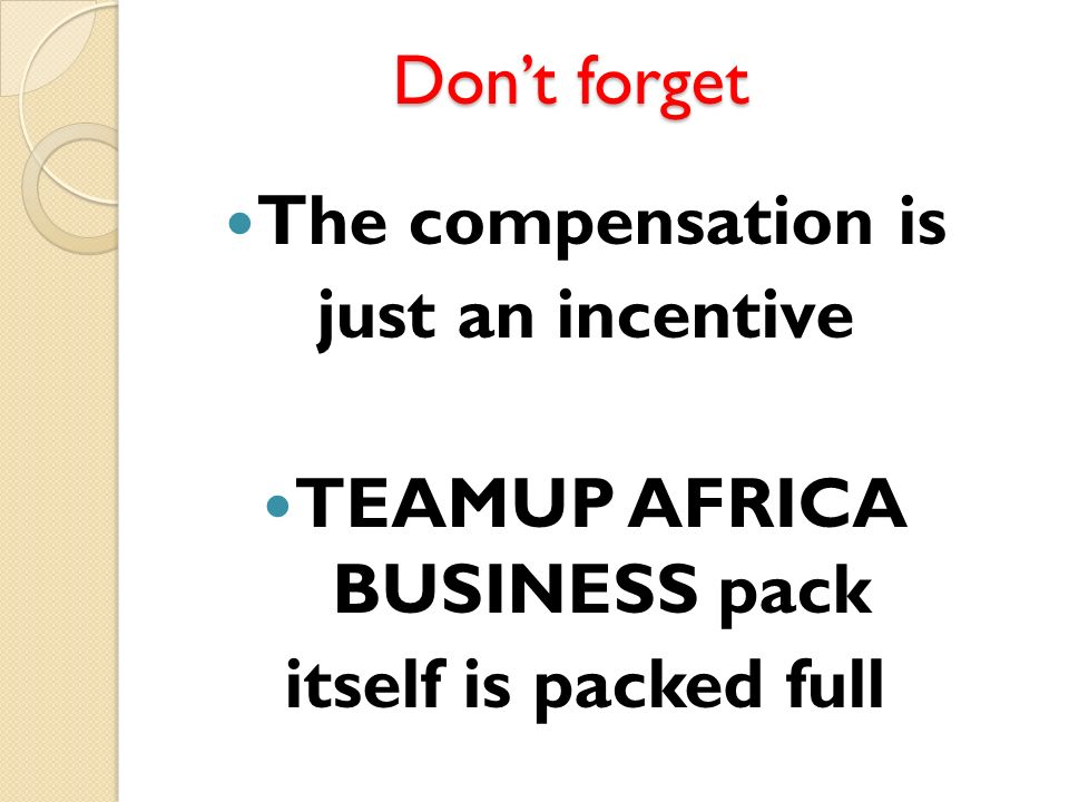 TEAMUP AFRICA BUSINESS pack