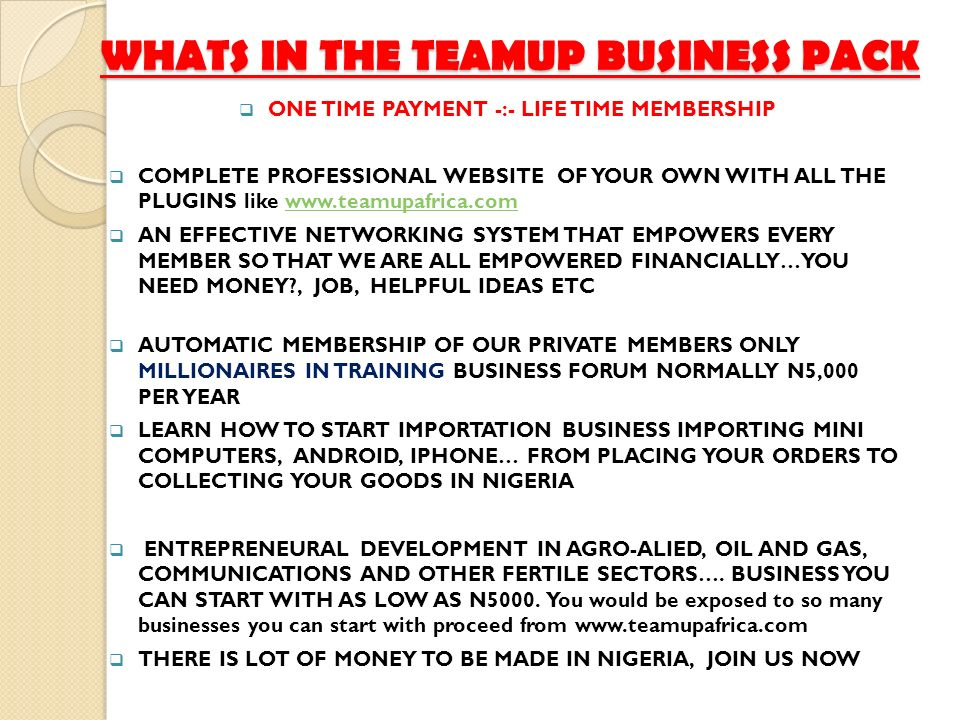 WHATS IN THE TEAMUP BUSINESS PACK