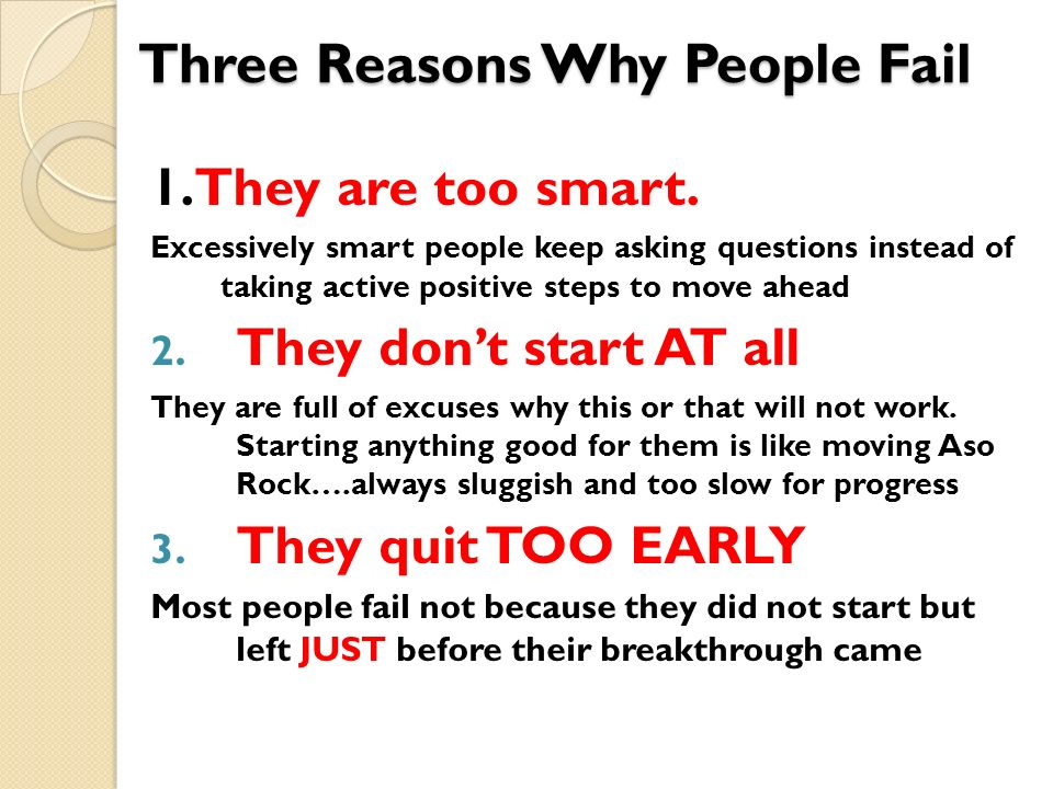 Three Reasons Why People Fail