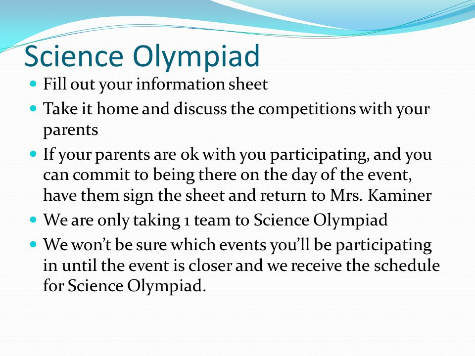 Science Olympiad Fill out your information sheet