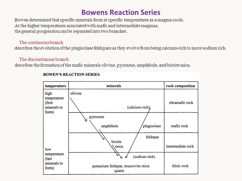 Bowens Reaction Series