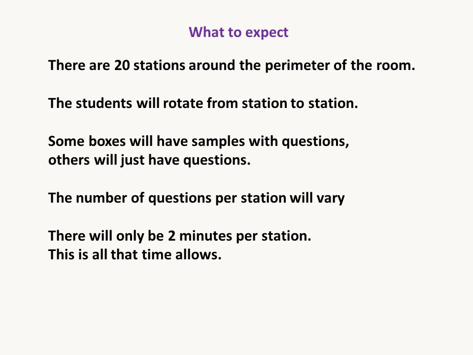 What to expect There are 20 stations around the perimeter of the room. The students will rotate from station to station.