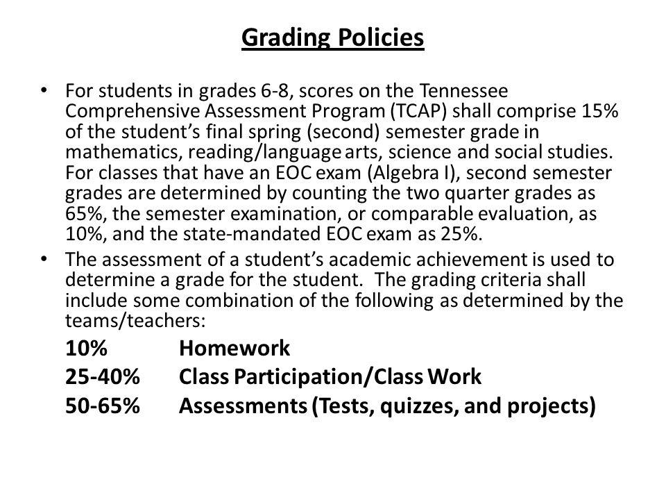 Grading Policies 10% Homework 25-40% Class Participation/Class Work