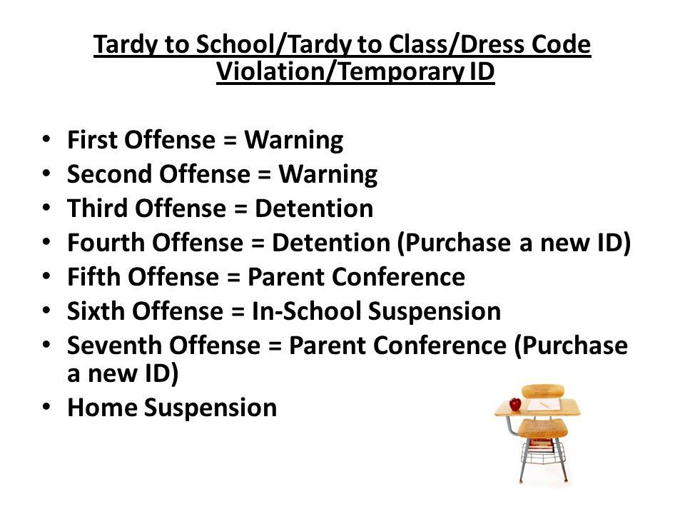 Tardy to School/Tardy to Class/Dress Code Violation/Temporary ID