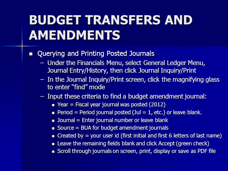 BUDGET TRANSFERS AND AMENDMENTS