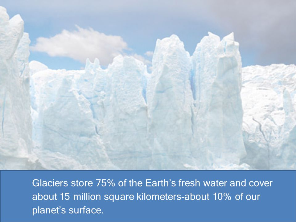 Glaciers store 75% of the Earth's fresh water and cover about 15 million square kilometers-about 10% of our planet's surface.