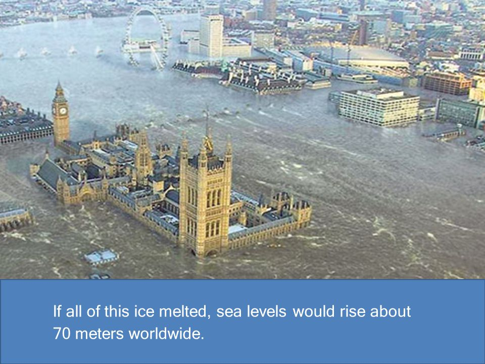 If all of this ice melted, sea levels would rise about 70 meters worldwide.