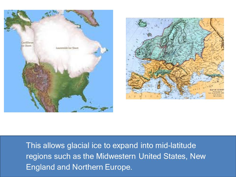 This allows glacial ice to expand into mid-latitude regions such as the Midwestern United States, New England and Northern Europe.
