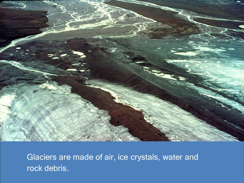 Glaciers are made of air, ice crystals, water and rock debris.