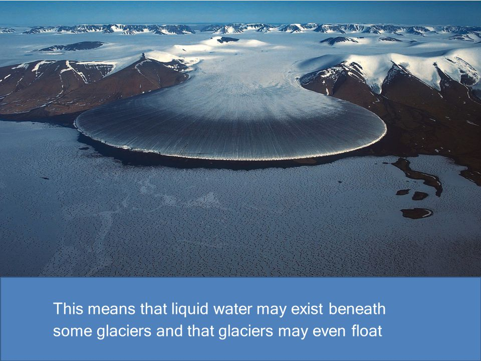 This means that liquid water may exist beneath some glaciers and that glaciers may even float