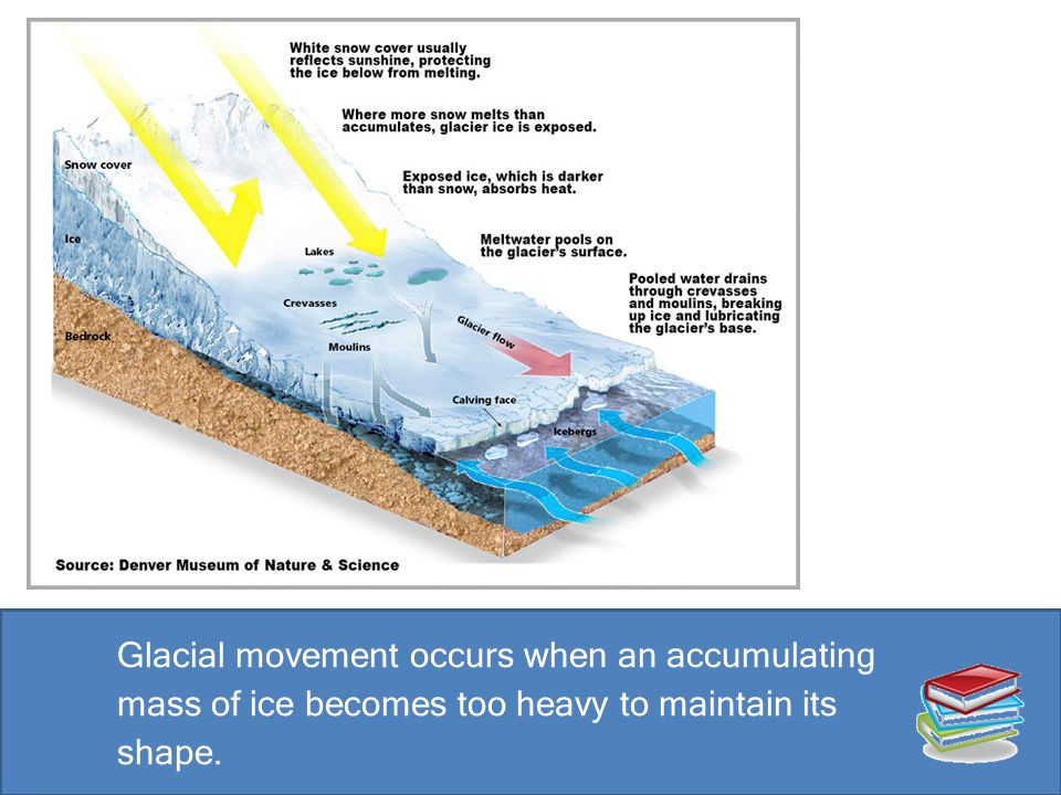 Glacial movement occurs when an accumulating mass of ice becomes too heavy to maintain its shape.