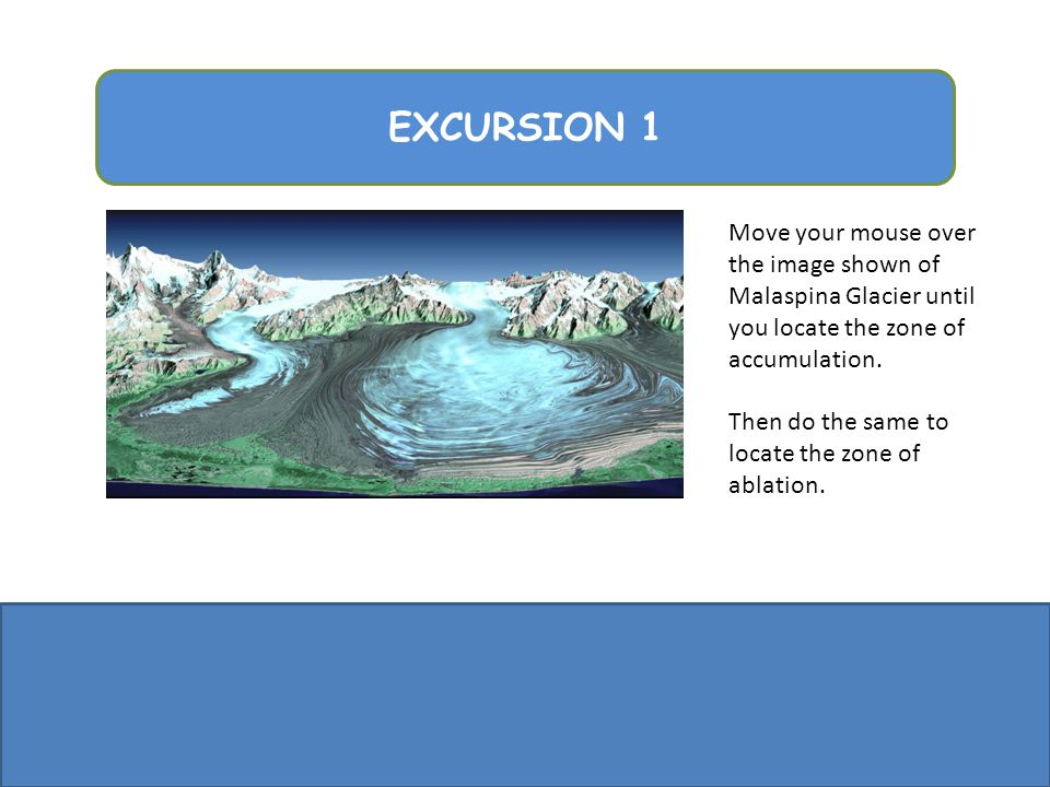 EXCURSION 1 Move your mouse over the image shown of Malaspina Glacier until you locate the zone of accumulation.