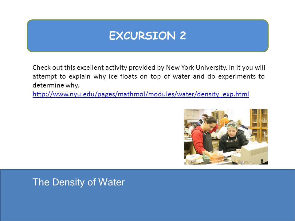 EXCURSION 2 The Density of Water
