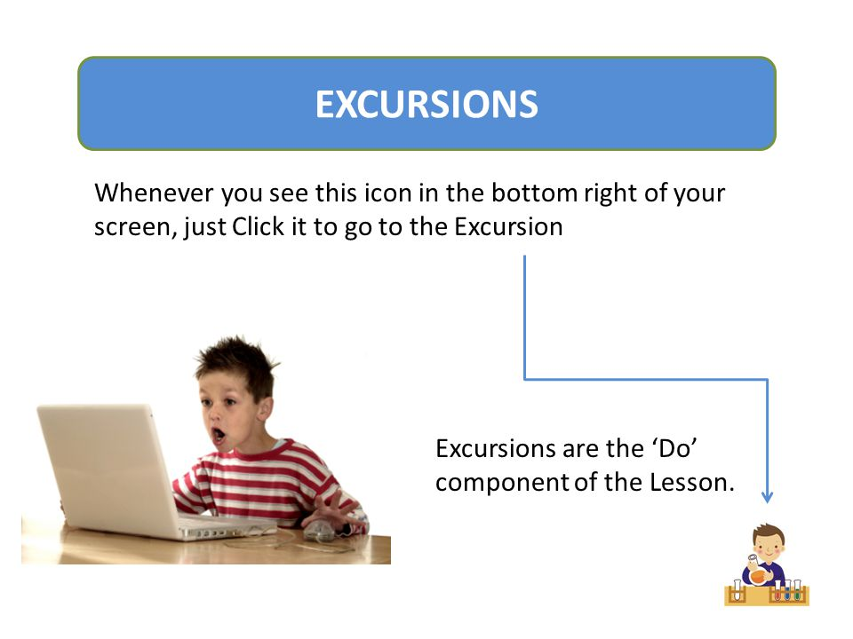 EXCURSIONS Whenever you see this icon in the bottom right of your screen, just Click it to go to the Excursion.