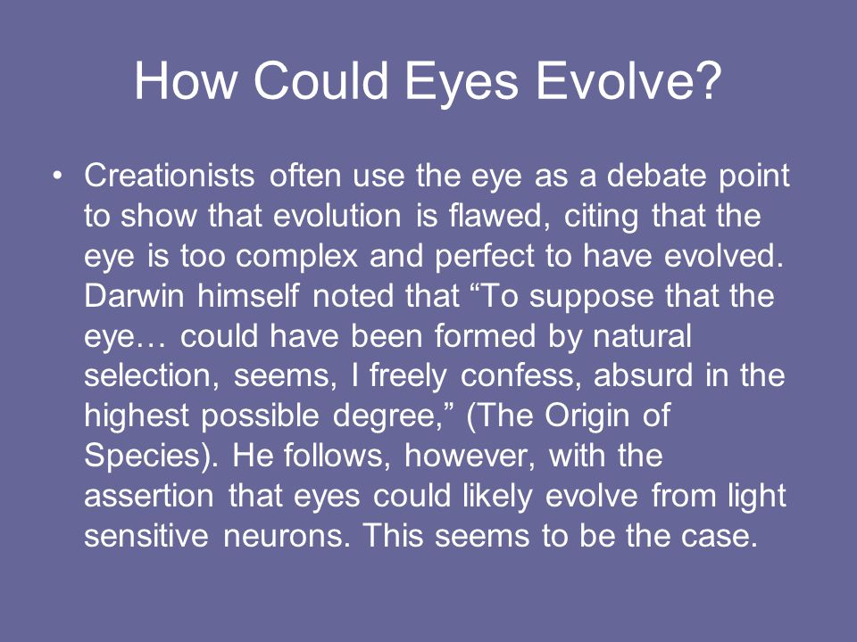 How Could Eyes Evolve