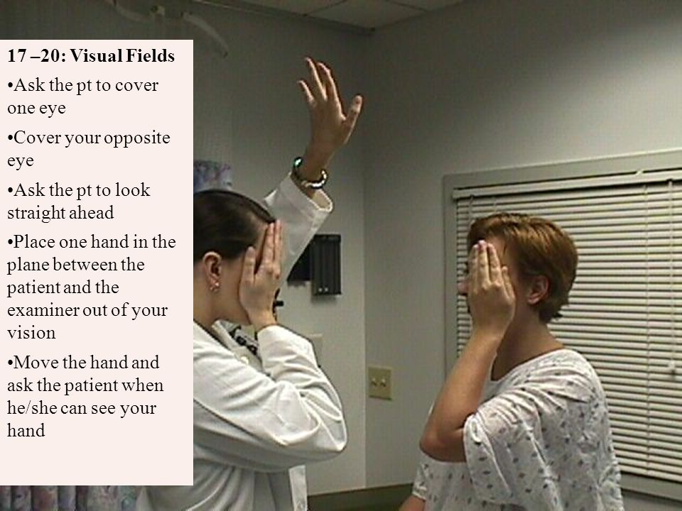 Ask the pt to cover one eye Cover your opposite eye