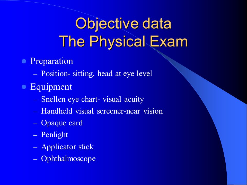 Objective data The Physical Exam