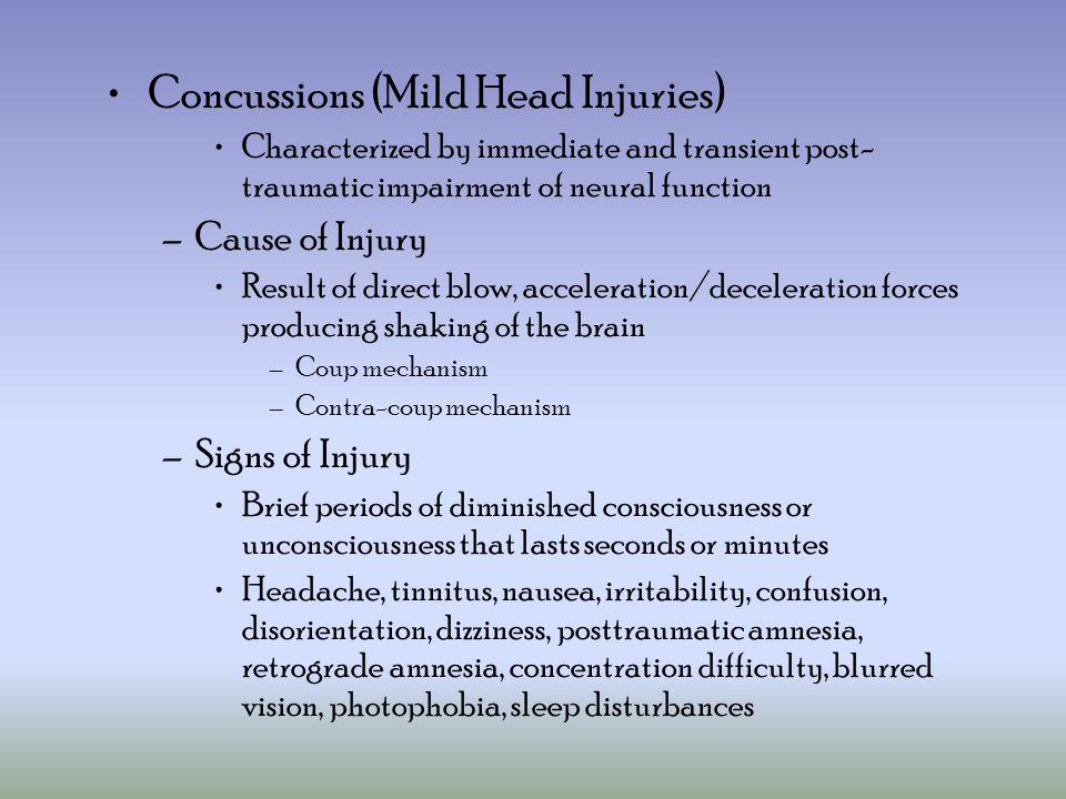 Concussions (Mild Head Injuries)