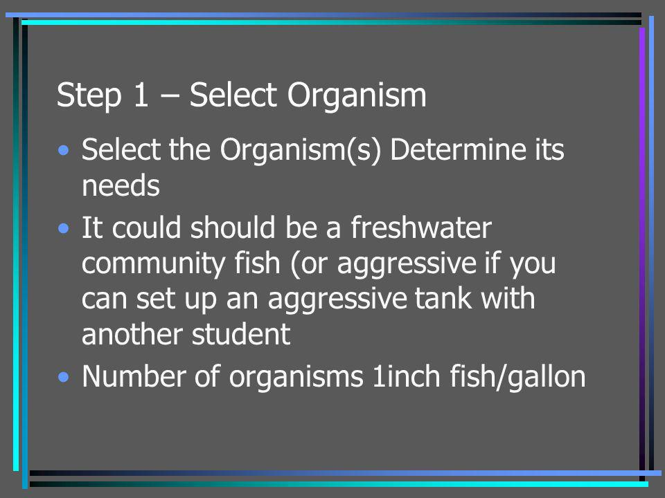 Step 1 – Select Organism Select the Organism(s) Determine its needs