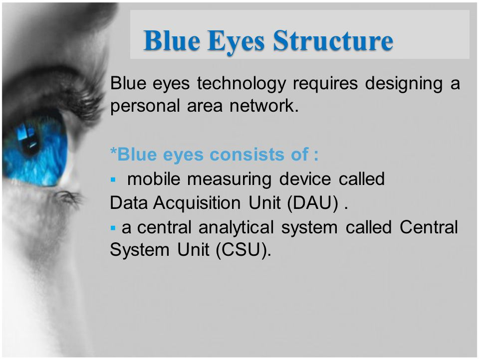 Blue Eyes Structure Blue eyes technology requires designing a personal area network. *Blue eyes consists of :