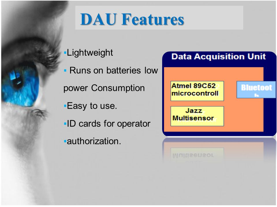 DAU Features Lightweight Runs on batteries low power Consumption