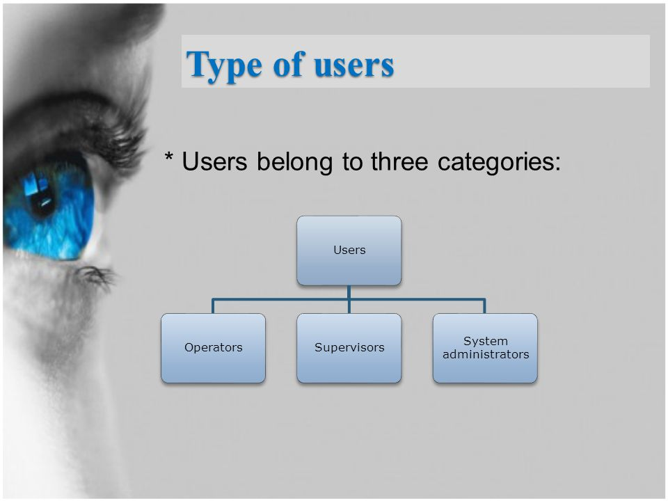 * Users belong to three categories: