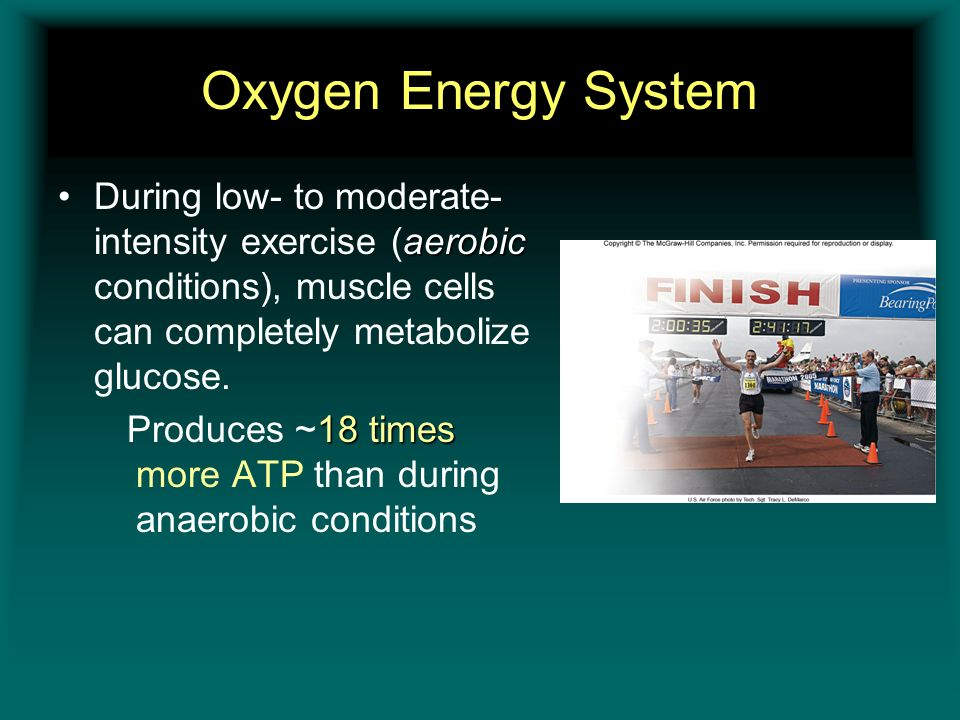 Oxygen Energy System During low- to moderate-intensity exercise (aerobic conditions), muscle cells can completely metabolize glucose.