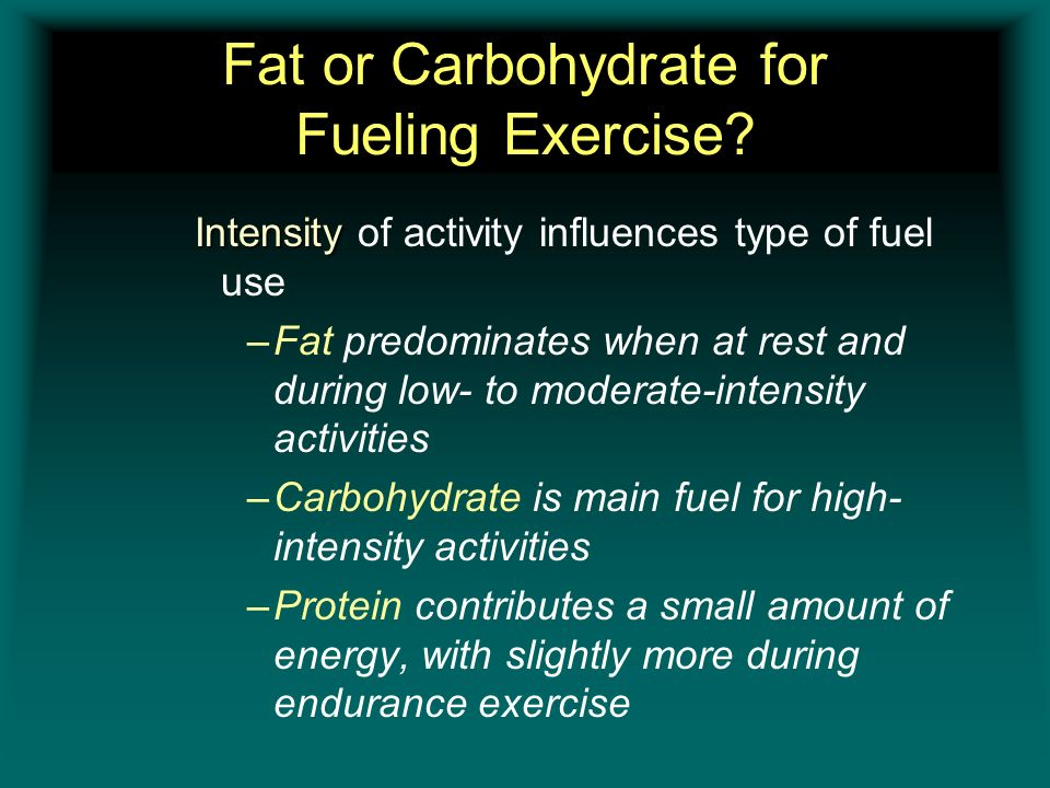 Fat or Carbohydrate for Fueling Exercise