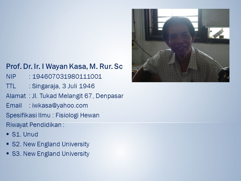 Prof. Dr. Ir. I Wayan Kasa, M. Rur. Sc
