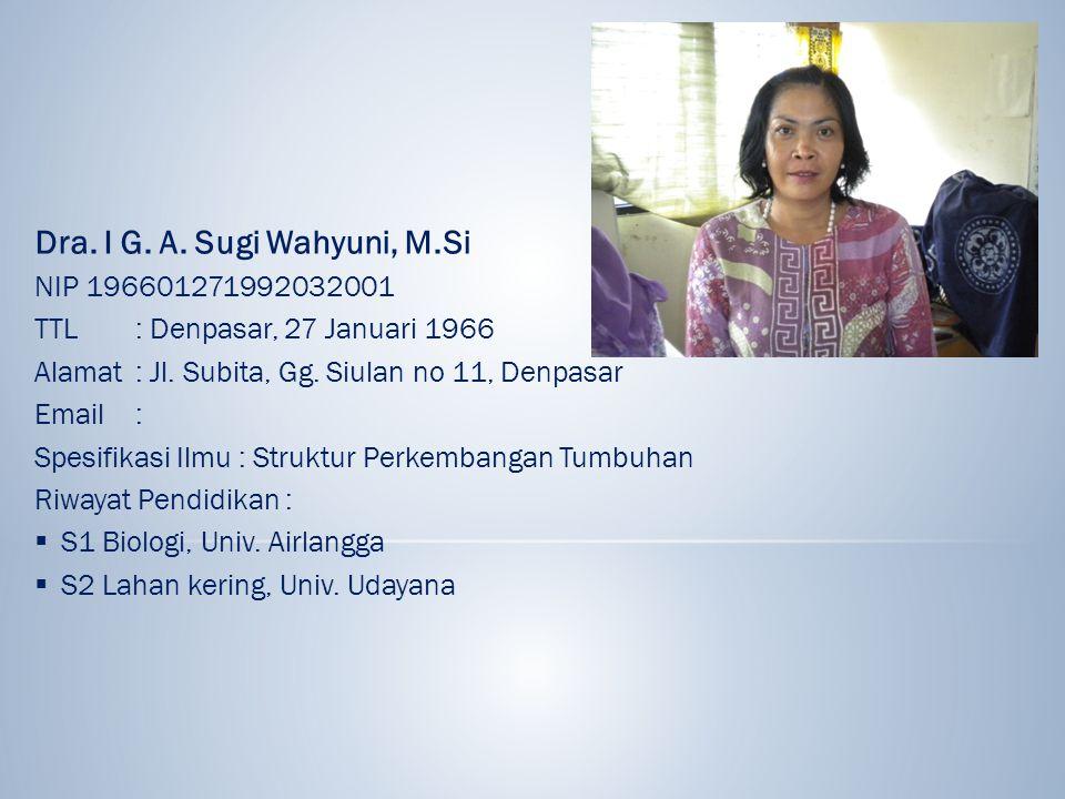 Dra. I G. A. Sugi Wahyuni, M.Si