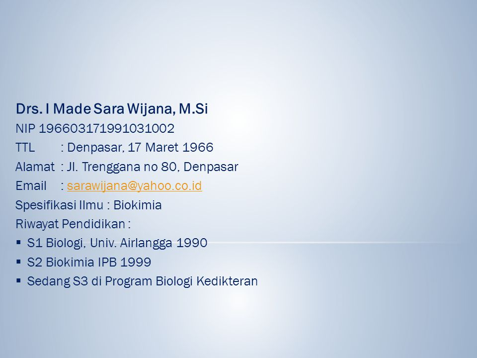 Drs. I Made Sara Wijana, M.Si