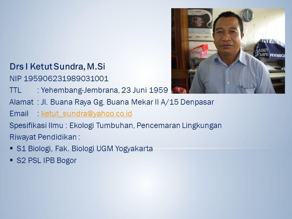 Drs I Ketut Sundra, M.Si NIP 195906231989031001